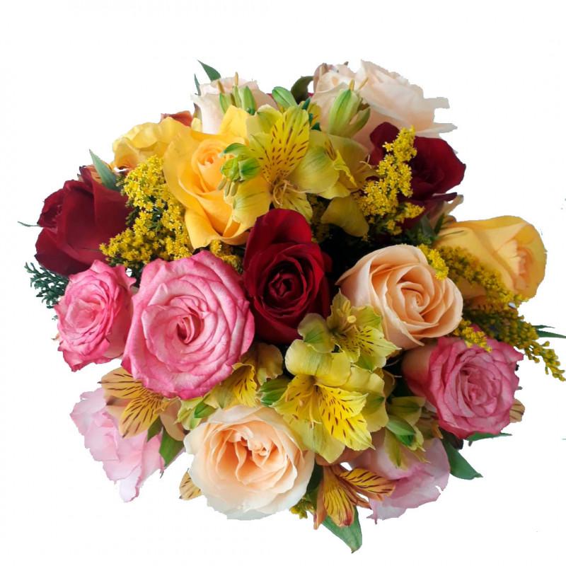 144 Arranjo Alegria - Rosas Coloridas