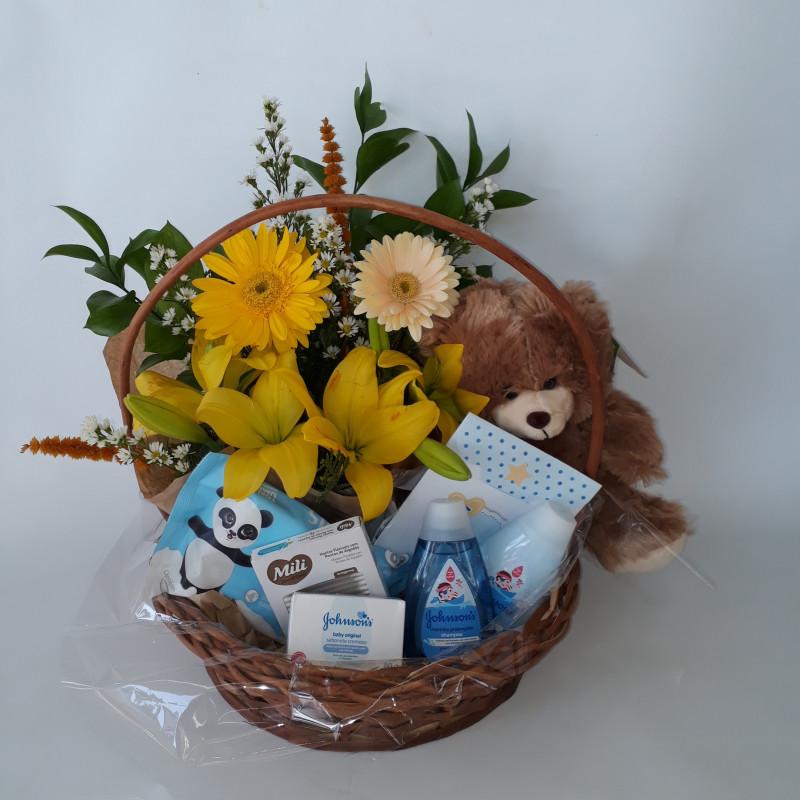 140 Cesta Maternidade Flores + Urso