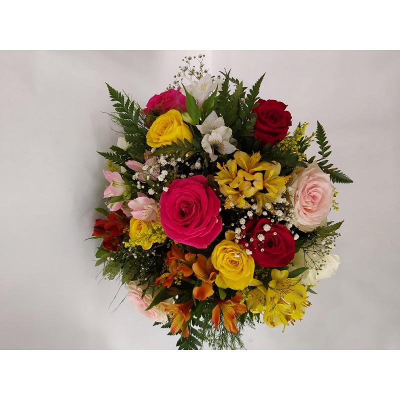 156 Buque 12 rosas Colorida com Astromelia e Gipsofila