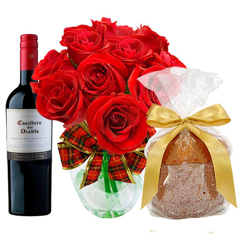 502  Kit Rosas com Vinho e  panettone!
