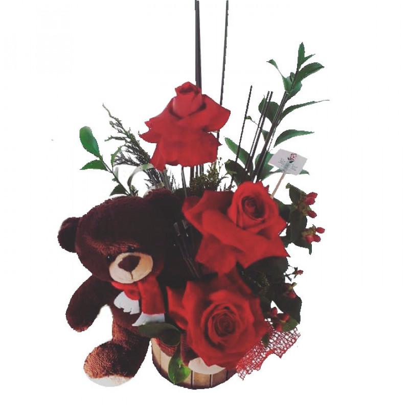 514 Arranjo 3 Rosas e 1 Urso.