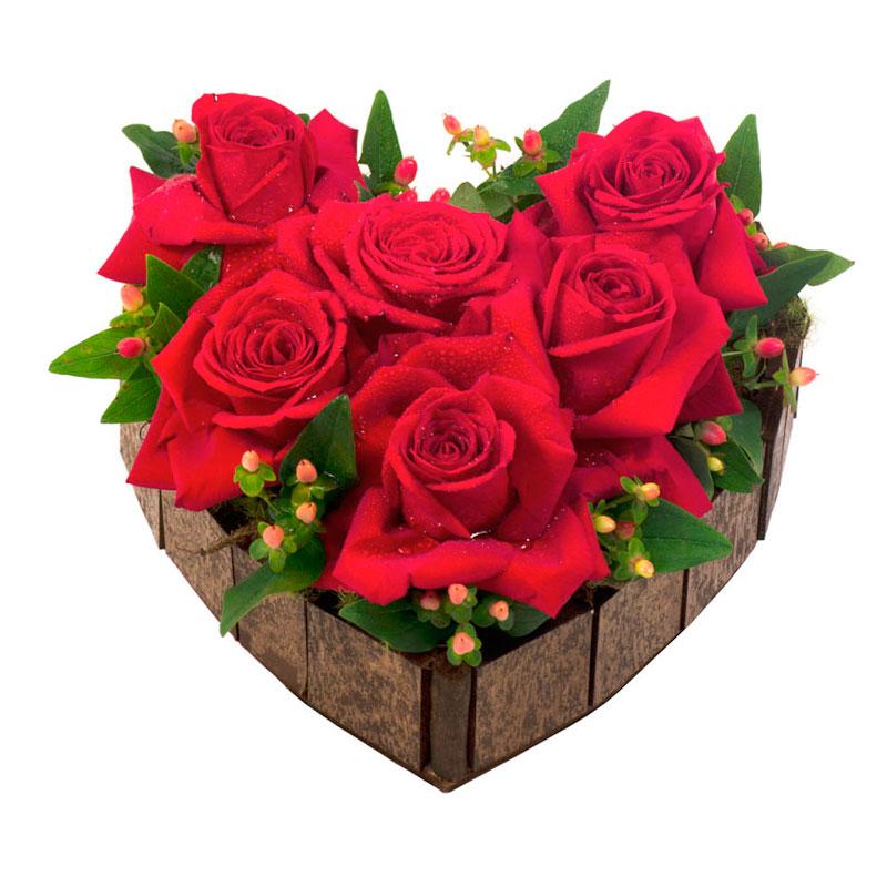 131 Arranjo Coração de Rosas Médio