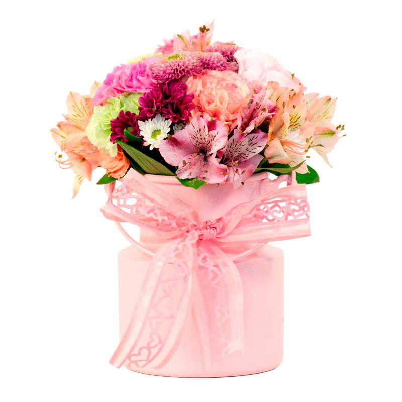 108 Arranjo de Flores Sortidas no vidro ou lata médio