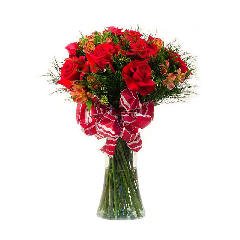 404 Buque  de Rosas com Astromérias  com vaso