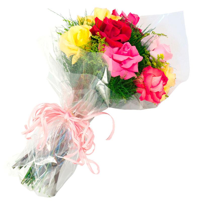 403 Buque  de 12 Rosas Coloridas