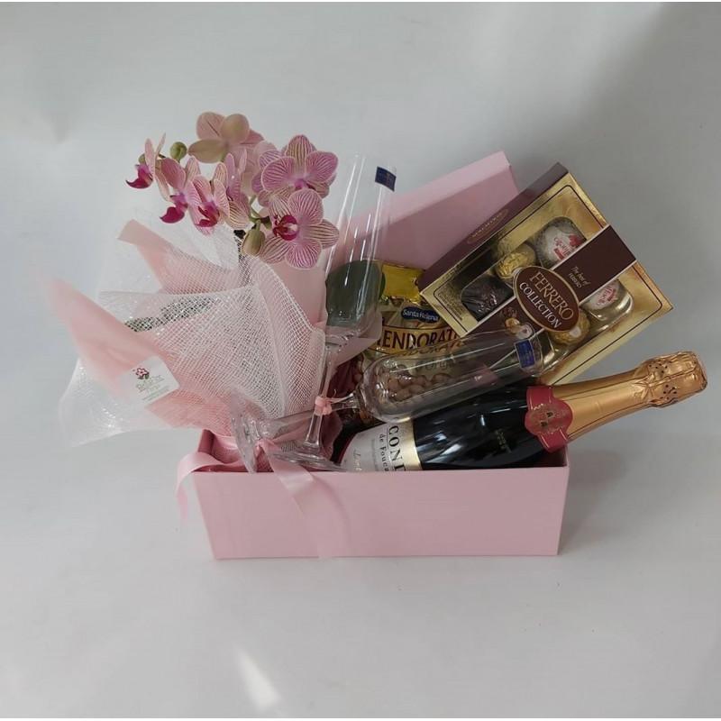 168 Caixa Box  Mini Orquídea Vinho ou Espumante